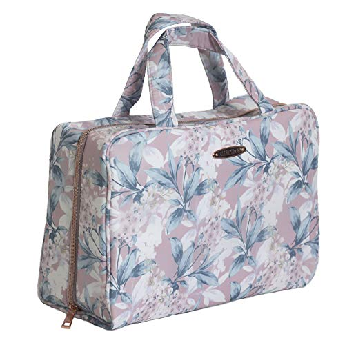 Ellen Tracy Makeup Bag, Travel and Toiletry Bag, Large Cosmetic Bag with Zippered, Transparent Pockets and Handles, Foldable Makeup Bag for Home and Travel (Pale Pink & Green Flower Print)
