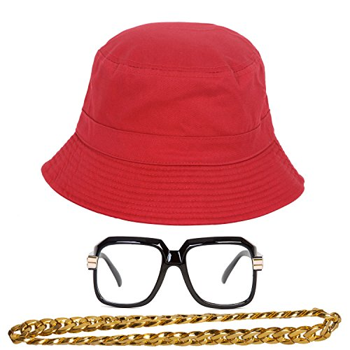 (90s Hip-Hop Gold Chain Costume Kit (Bucket Hat + Sunglass + Gold Chain) Red)