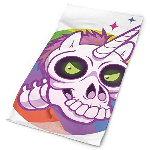 Headwear Headband Head Scarf Wrap Sweatband,Doodle Style Cartoon Unicorn Skull With Green Eyes With Rainbow Background Funny,Sport Headscarves For Men Women]()