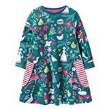 HOMAGIC2WE Girls Long Sleeve Cotton Dress Cute Cartoon Printed Basic Dresses with Pocket for Toddler