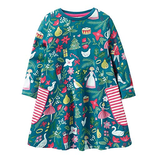 HOMAGIC2WE Girls Long Sleeve Cotton Dress Cute Cartoon Printed Basic Dresses with Pocket for Toddler from HOMAGIC2WE