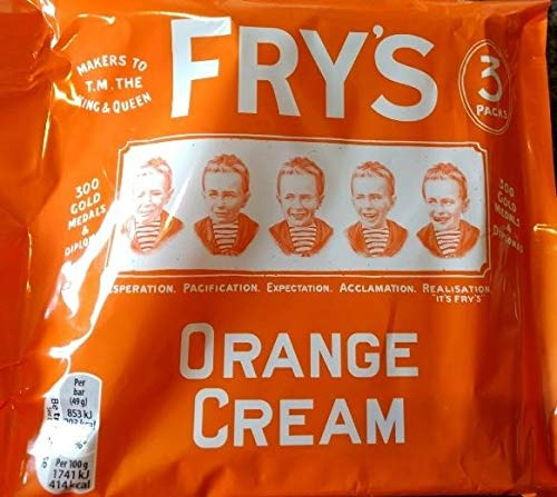 Original Cadbury Fry's Orange Cream Chocolate Bars Pack Imported From The UK England British Chocolate Candy Fry's Orange Cream Chocolate Bar New Edition Multipack 3 x 49g