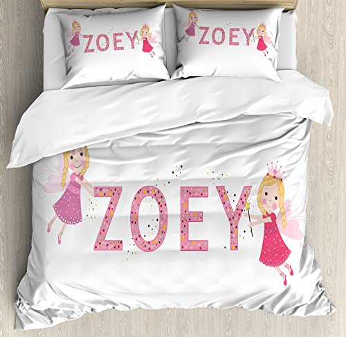 Zoey Queen Size Duvet Cover Set by Ambesonne, Feminine Themed Baby Girl Name Magic Creatures Calligraphic Alphabet Letter Design, Decorative 3 Piece Bedding Set with 2 Pillow Shams, Multicolor
