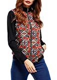 Wofupowga Womens Coat Zip up Fashion Dashiki Africa Print Baseball Jacket Brown S
