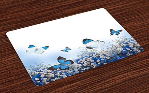 Lunarable Blue and White Place Mats Set of 4, Hydrangeas and Butterflies Rural Scenery Freshness Spring Yard Garden, Washable Fabric Placemats for Dining Room Kitchen Table Decor, Blue Black White