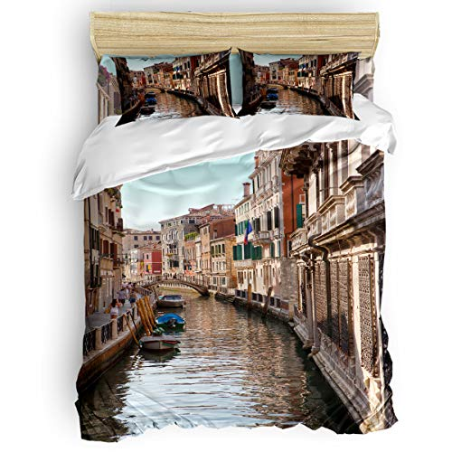 Trendier Kids Bedding Set Soft Duvet Cover Set for Boys Girls,Venice Canal Breathable and Lightweight Bed Sheet Sets,4 Pieces Include 1 Flat Sheet 1 Duvet Cover and 2 Pillow Cases Full
