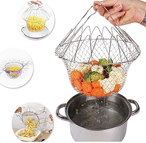 Foldable Steam Rinse Strain Fry French Chef Basket Magic Basket Mesh Basket Strainer Net Kitchen Cooking Tool by Superjune
