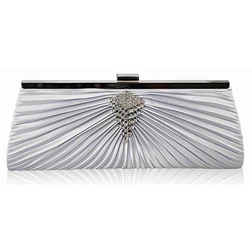 L And S Handbags - Cartera de mano para mujer plata