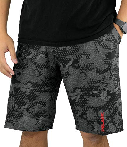 (Pelagic Men's Sharkskin Pro Fishing Shorts | Button Zip Fly | Belt Loops | Tool Pocket Black)