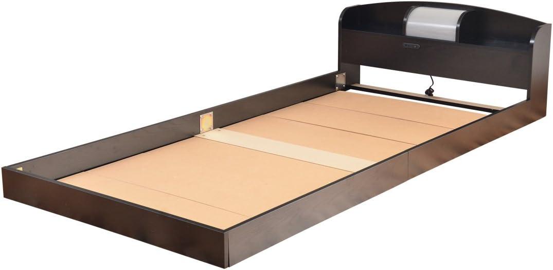 ベッドフレーム フロアベッド コンセント付き 照明付き
