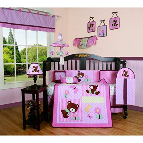 TL 13 Piece Baby Girls Pink Blue Brown Teddy Bear Crib Bedding Set, Newborn Flower Nursery Bed Set, Infant Child Animal Themed Patchwork Floral Paisley Striped Butterflies Quilt Blanket, Cotton
