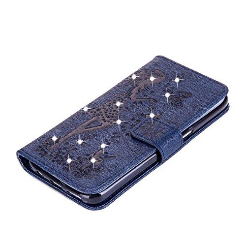 Jawseu Schutzhülle / Rückseitenschutz aus Leder für Samsung GalaxyS7, mit Klappdeckel, Geldbörsen-Stil, Magnetverschluss, ultradünn, mit Handschlaufe, Standfunktion, Schlitze für Kreditkarten, flexib Dame,Marineblau