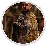 Pixels Round Beach Towel With Tassels featuring ''Maasai Boy'' by Adam Romanowicz