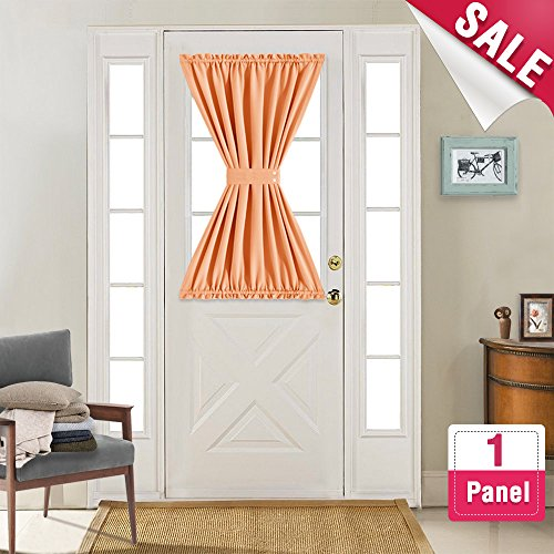 French Door Curtain Panels Room Darkening Thermal Insulated French Door Curtains 40 Inches Long with Bonus Tieback for Glass Door, Orange, Sold Individually - Orange Block Rug