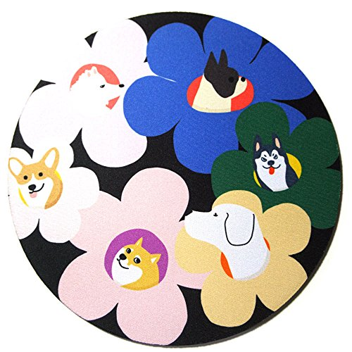 Custom Original Nature Series Mouse Pad (Dogs and Flowers) Dog Round Mouse Pad