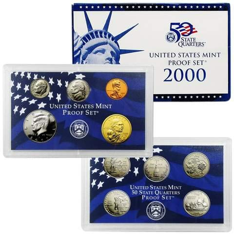 (2000 S Gem 10-Piece Proof Set - Penny, Nickel, Dime, 5-Statehood Quarters, Kennedy Half and Sacagawea Dollar OGP - Excellent Proof Coins US Mint)