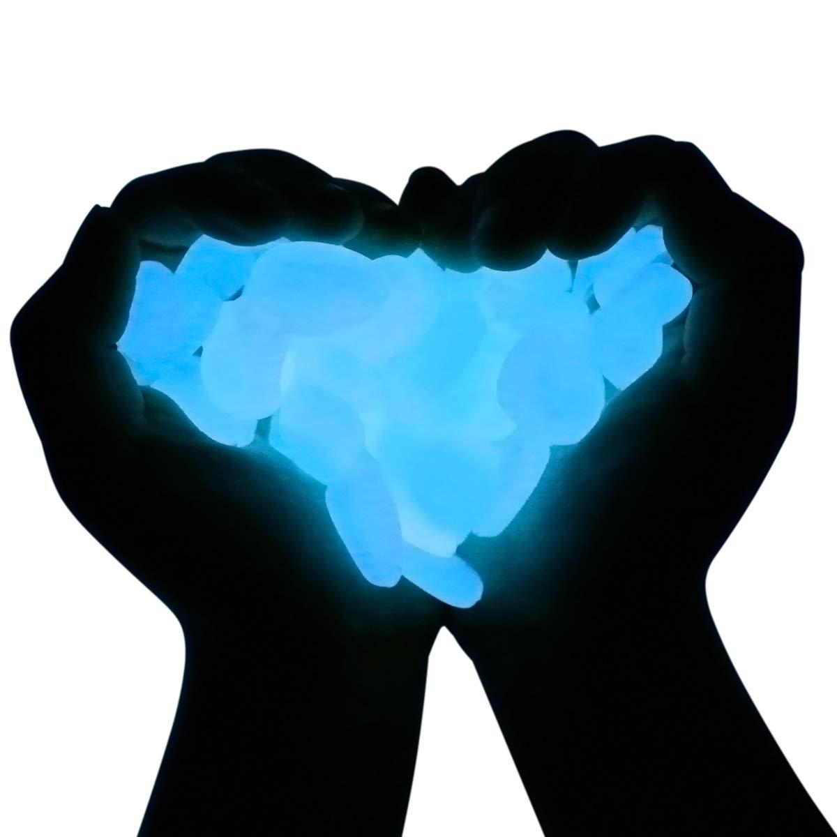 MEYUEWAL Glow in The Dark Pebbles 200PCS Glow Stones Luminous Pebbles for Walkways, Path, Gardens, Lawns, Driveways, Plants, Fish Tank, Aquarium (Blue)