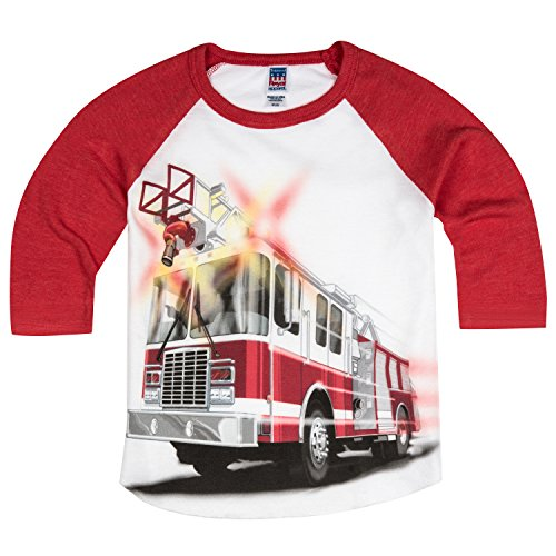 - Shirts That Go Little Boys' Big Red Fire Truck Raglan T-Shirt 2 Red Sleeves