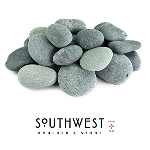 Mexican Beach Pebbles - Smooth Unpolished Stones - 100% Natural Organic Pebbles Hand-Picked - Premium Accent for Garden and Landscape Design (20 Pounds Mexican Beach Black, 1/2 Inch - 1 (Paver Fire Pit)