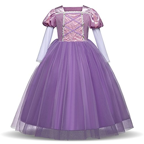 Yiwa Girl Delicate Lace Long Dress Elegant Lovely Fluffy Princess Dress for Halloween Show Purple 110cm