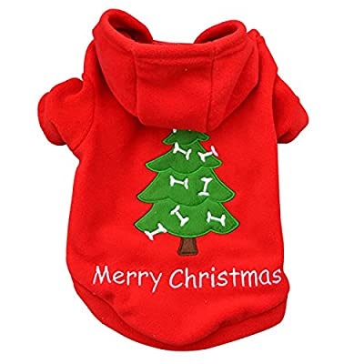 Ollypet Small Dog Hoodie Xmas Christmas Red Clothes Pet Apparel For Winter Costume by Ollypet