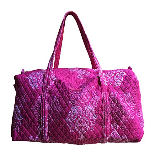 (Vera Bradley Large Duffel in Stamped Paisley with Solid Pink Interior)