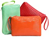 Zipper Storage Bag - Pouch For Jewelry, Small Tools, Makeup, Toiletries, Cosmetics, Office, Travel, Car - Set Of 3 (Summer)