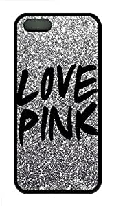 Generic Personalized Protector Case Love Pink Design for Iphone 5/5s Rubber TPU Black Edge