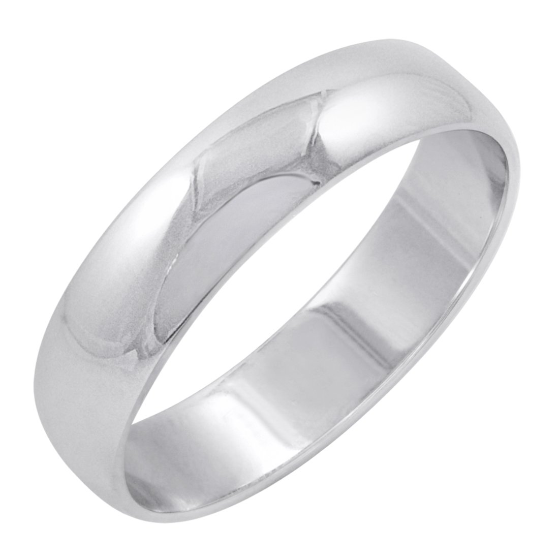 Men's 10K White Gold 5mm Classic Fit Plain Wedding Band (Available Ring Sizes 8-12 1/2) Size 12 by Oxford Ivy (Image #1)