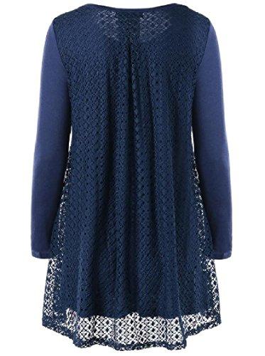 Coolred-femmes Pull-over À Manches Longues Solide 2 Écorcheurs Robe Taille Imprimé Bleu Marine
