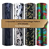 Heat Transfer Camouflage Pattern Vinyl Pack 4 Assorted Colors Bundle/Camo Iron on Vinyl Sheets 12x10' for DIY Shirt and Garment