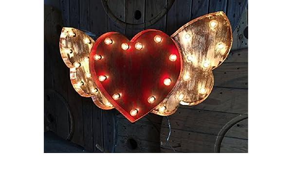 Heart Shaped Brass Marquee Light