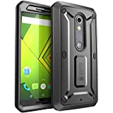 Droid Maxx 2 Case, SUPCASE [Heavy Duty] Belt Clip Holster Case for Motorola Moto X Play 2015 Verizon [Unicorn Beetle PRO Series] Rugged Protective Cover with Built-in Screen Protector (Black/Black)