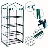 Homes Garden 4-Tier Shelves Mini Greenhouse Warm Tight Commercial PVC Indoor Outdoor Clear Greenhouse Plant Flower Grow Tent Zipper Roll Up Front 27 in. L x 19 in. W x 63 in. H #G-4404