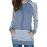 Londony Newest Autumn Pockets Hoodies Striped Printed Long Sleeve Pullover Hoodie Sweatshirts for Womens