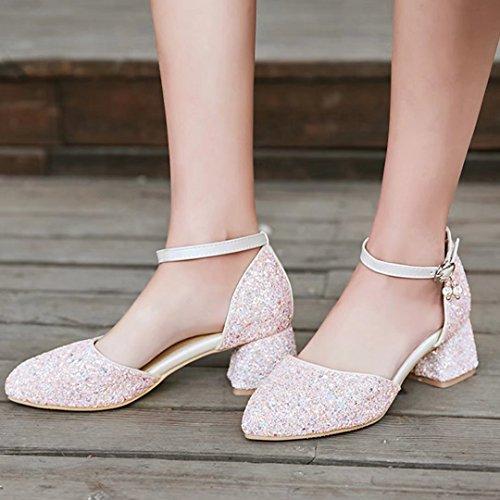 AIYOUMEI Damen Glitzer Pumps mit 5cm Absatz Chunky Heel Knöchelriemchen Blockabsatz Schuhe Rosa
