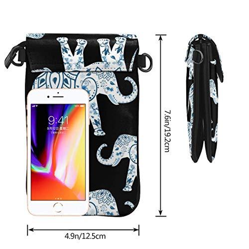 Hdadwy mobiltelefon crossbody väska elefant blå svart kvinnor PU-läder mode handväska med justerbar rem