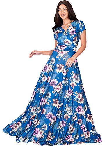 KOH KOH Petite Womens Long Cap Short Sleeve Floral Print Full Floor Length Sexy V-Neck Spring Summer Sundress Cocktail Evening Party Sun Gown Gowns Maxi Dress Dresses, Blue Teal & Pink S 4-6