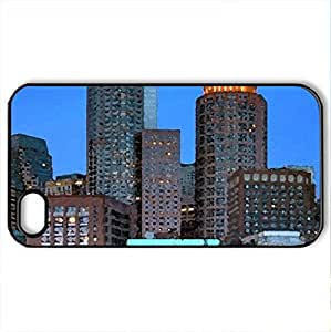 Cruise At Harbour - Case Cover for iPhone 4 and 4s (Skyscrapers Series, Watercolor style, Black) by lolosakes