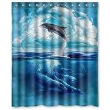 "Custom Waterproof Fabric Bathroom Shower Curtain Dolphin Sea 60""(w) x 72""(h)"