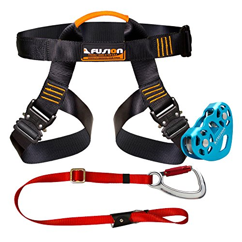 Fusion Climb Pro Backyard Zip Line Kit Harness Lanyard Trolley Bundle FK-A-HLT-02
