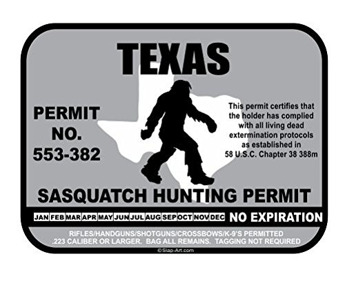 JS Artworks Texas Sasquatch Hunting Permit License Bigfoot Vinyl Sticker Decal