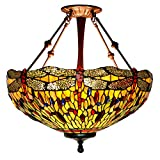 CAQQ Tiffany Style uplighter Chandeliers Yellow Dragonfly Pendant Lamp Retro Stained Glass Ceiling Light