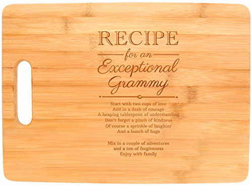 Mothers Day Gifts for Grandma Grammy Recipe for an Exceptional Grammy Mother Day Gifts Birthday Gifts for Grandma Unique Gifts for Grandma Big Rectangle Bamboo Cutting Board ()