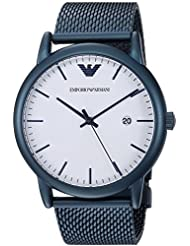 Emporio Armani Mens Luigi Quartz and Stainless-Steel-Plated Casual Watch, Color:Blue (Model: AR11025)