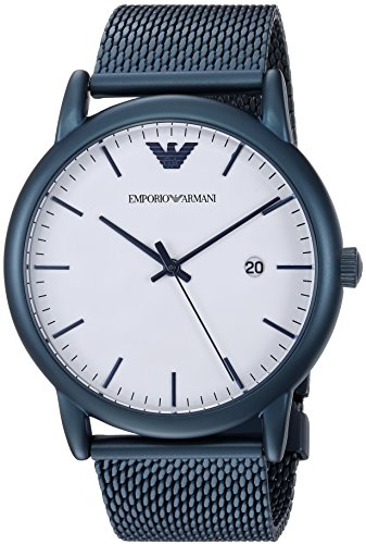Emporio Armani Men's Luigi Analog-Quartz Watch with Stainless-Steel-Plated Strap, Blue, 22 (Model: AR11025)