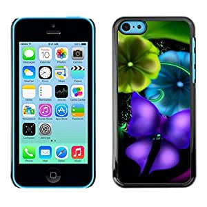 Paccase / SLIM PC / Aliminium Casa Carcasa Funda Case Cover - Blurry Vibrant Teal Butterfly - Apple Iphone 5C