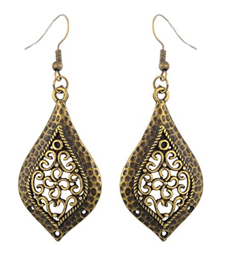 (MJartoria Look like Antique Teardrop Hook Dangle Earrings with Filigree Flower Pendant (Filigree Flower))