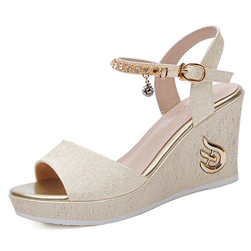 Espesor Zapatos Taiwán EU34 Bizcocho UK2 Boca 79 Alto con De De 2 Pescado De Sandalias De De Zapatos SHOESHAOGE Pendiente Amarre Zapatos Tacón Mujer Impermeable Ranurada Los X6awnS0