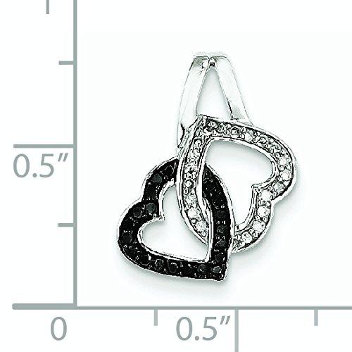 Or blanc 14 carats Noir et blanc diamant-Pendentif Coeur JewelryWeb